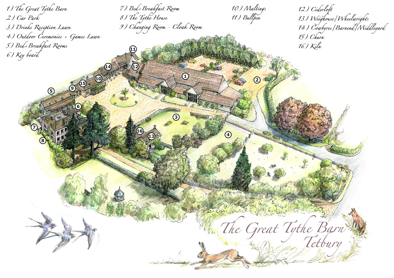 The Great Tythe Barn site map
